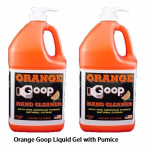Orange goop with pumice